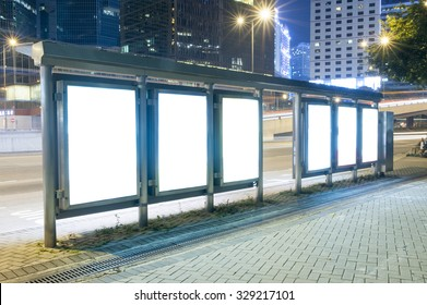 A Big empty blank billboard during night