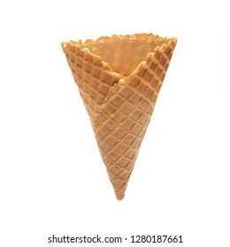 Big Empty or blank ice cream crispy wafer cone isolated on white background