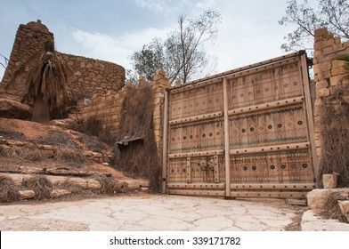 Big entrance palissade and fortification in Riyadh, Saudi Arabia.