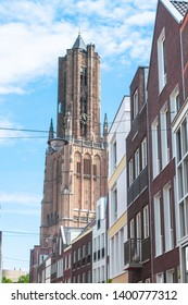 The big Eusebius church in Arnhem in the Netherlands, standing at the end of the city street