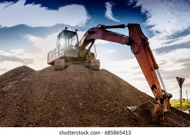 the big excavator on the height