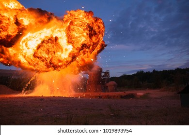 big explosion fireball at dusk A