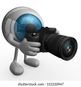 big eye with arms, legs and digital photo camera while framing