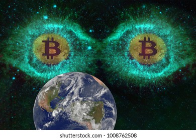 Big eyes Coins of bitcoin in space looking at the earth. Observation, experiment from the outside. Alien concept. Elements of this image furnished by NASA
