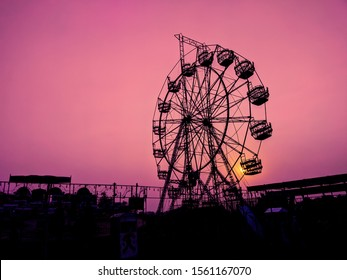 Big Fair Wheel with Red Background