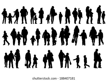Big families with a child on white background