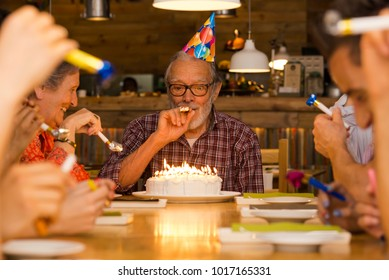 Big family celebrate the birthday of the grandfather