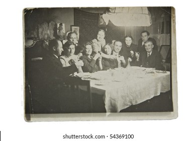 Big family celebrates, old picture, Ukraine