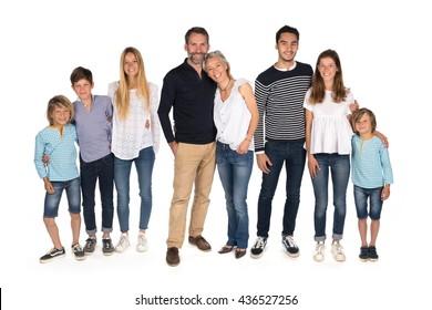 Big family on white background