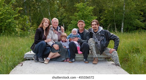 Big family outdoors