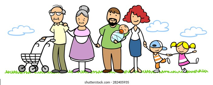 Big family with parents, grandparents and children in nature in summer