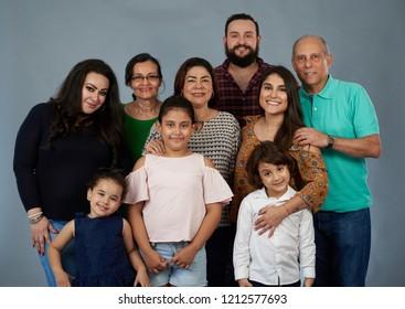 Big family portrait isolated on gray studio background