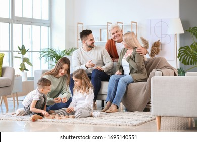 Big family spending time together at home