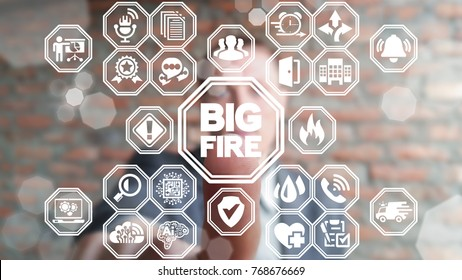 Big Fire Attention Business Safety concept. Businessman using virtual touchscreen presses fire flame button. Work and Health Safe. Precautions Learning.