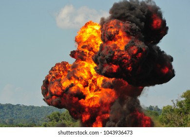 Big fire cause by bomb explosion.