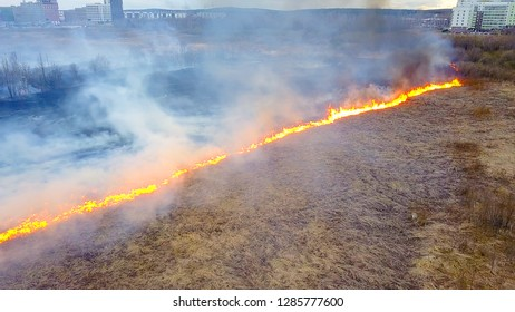 A big fire. The dry grass is burning. much smoke.  Ekaterinburg, Russia, From Dron