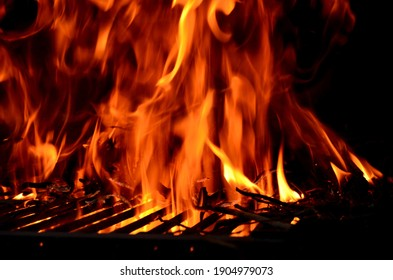 Big fire on the grill width wood. Recycle pruning wood.