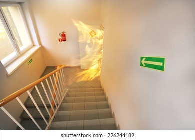 Big fire on the stair case