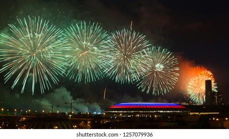 Big fireworks over Luzhniki stadium in Moscow