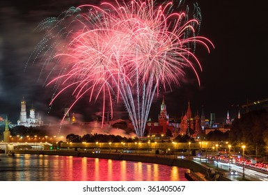 Big fireworks over Moscow Kremlin, Russia