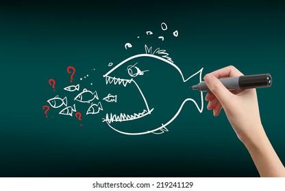 The big fish eats the small fish