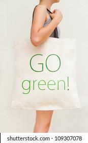 """Big flax eco bag """"Go green!"""""""