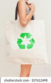 "Big flax eco bag ""Recycling"""