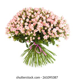 Big flower bouquet from bright pink roses isolated on white background. Closeup.