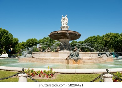 Big fountain in the middle of the French city Aix-en-Provence