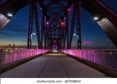 Big Four Bridge Illuminated Pink at Dusk