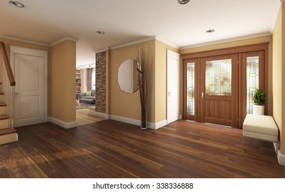 Big Foyer in Country House 3d Rendering
