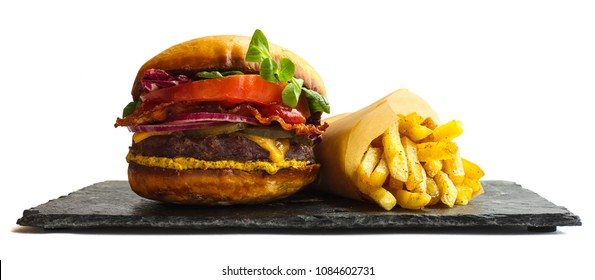 Big fresh burger and french fries isolated on white background