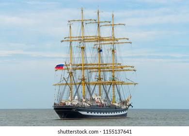 Big frigate sailing ship in the sea