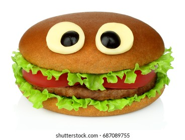 Big funny hamburger whith cheese eyes and chicken cutlet on white background.