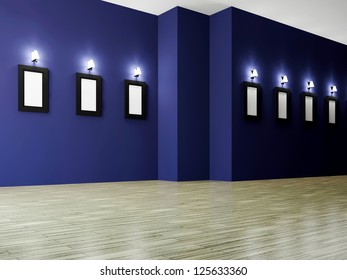 The big gallery with empty wooden frames