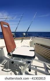Big game boat wooden fishing chair for tuna wahoo and marlin