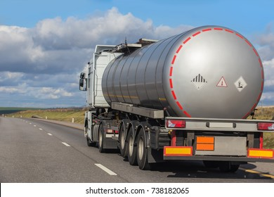 Big gas-tank truck goes on highway