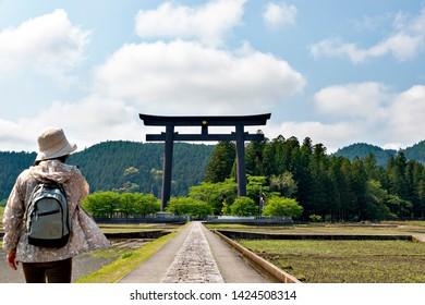 A big gateway to Kumano shrine in Wakayama, Japan