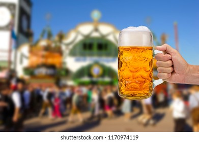 Big glass of beer at Oktoberfest in Munich