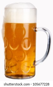 big glass with beer on a white background