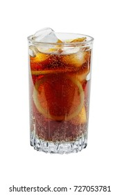 Big glass of cola and ice with lemon isolated on white