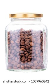 big glass jar with coffee seeds on white background isolated