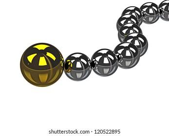 Big gold ball and small metal balls