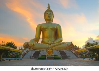 Big gold buddha statue wat muang angthong thailand