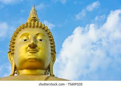 Big Golden Buddha with sky at Wat Muang, Ang Thong Province, thailand