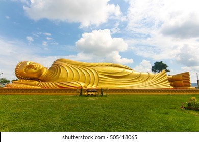 The big golden Buddha sleeping statue ,Lam Por Temple ,Songkhla province, the southern part of Thailand