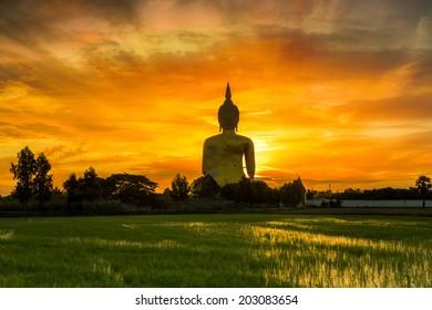 Big Golden Buddha at Wat Muang in Ang Thong, Thailand