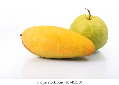 Big golden color Mango and guava isolated on white background