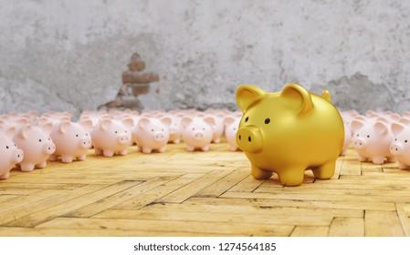 Big golden piggy bank with small pink piggy banks, investment an