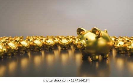 Big golden piggy bank with small golden piggy banks, investment